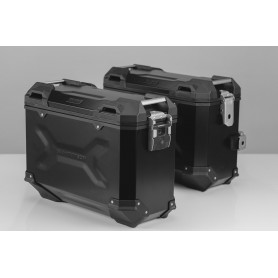Sistema de maletas Suzuki DL1000 / Kawasaki KLV1000 TRAX ADV 37L - 45L Negro/Plateado