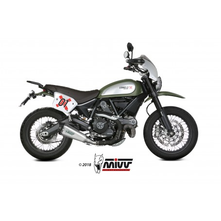 Silencioso Ducati Scrambler 800 2015- Mivv Delta Race Slip-On Acero Inox Tapa Carbono