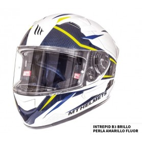 Casco MT Kre SV Intrepid B3 Blanco Perla Amarillo Fluor Brillo Integral