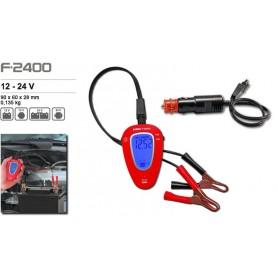 Voltimetro Ferve F2400 Digital 12/24 V. con toma de mechero y pinzas