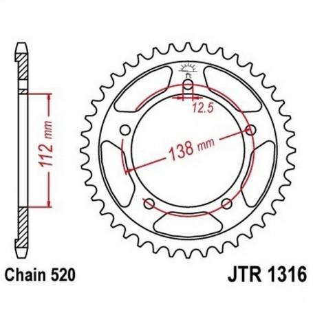 Corona Honda CBR500 R/RA-J 18 JT JTR1316.41 Acero 41 dientes
