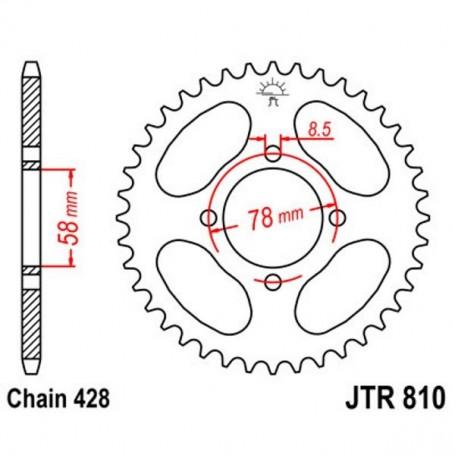 Corona Hyosung RX125 D 07-10 JT JTR810.48 Acero 48 dientes