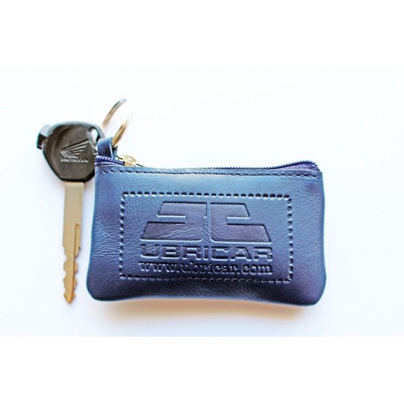 Llavero monedero en piel para motorista fabricado en Ubrique