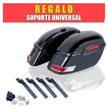 Maleta Rígida Custom Laterales Modelo Touring 33Lts + Soporte Universal