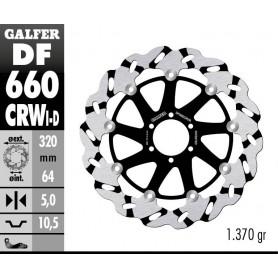 Disco Freno Galfer Wave DF660CRWI Flotante Ranurado Racing Delantero Izquierdo