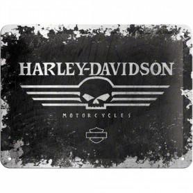 Placa Metalica Nostalgic-Art Harley Davidson Skull
