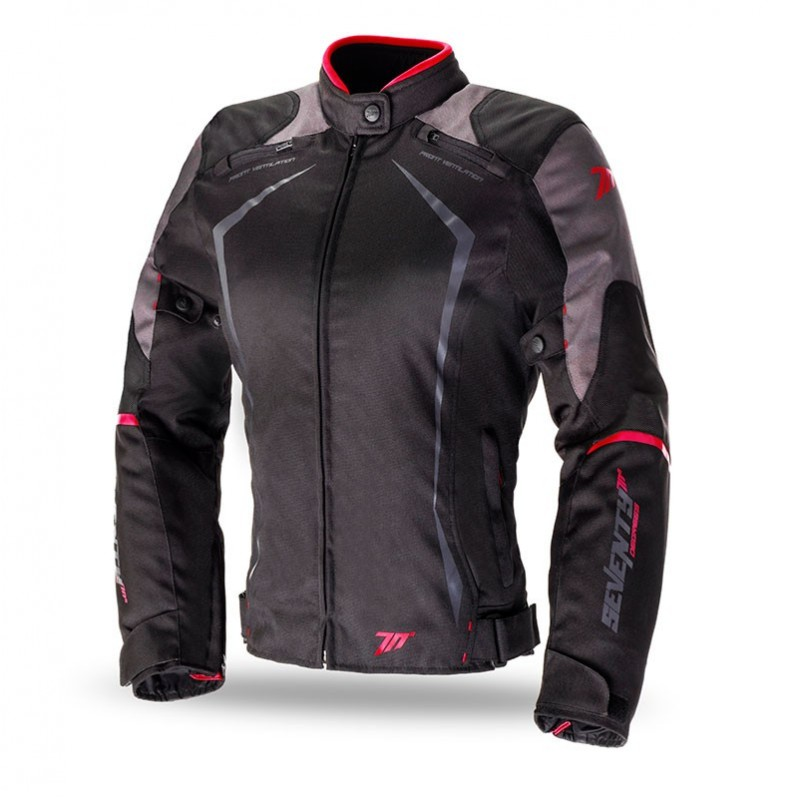Chaqueta Seventy Degrees SD-JR49 Racing Mujer Negro Rojo Invierno