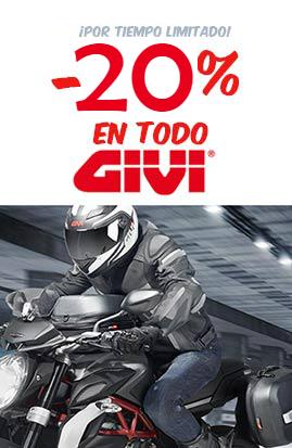 Hasta -20% descuento en Maletas Givi y accesorios para moto