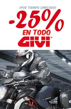 25% descuento en Maletas Givi y accesorios para moto