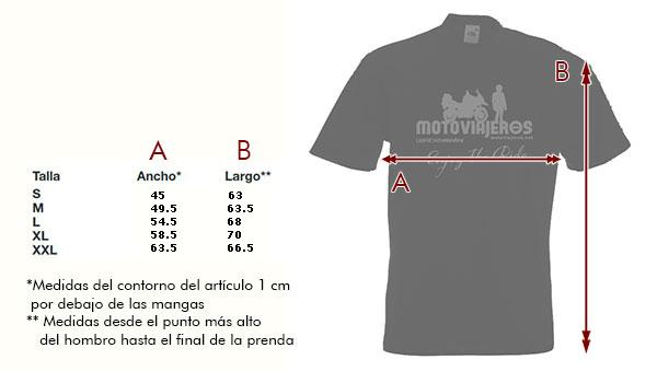 Tallas Camiseta Hombre Motoviajeros