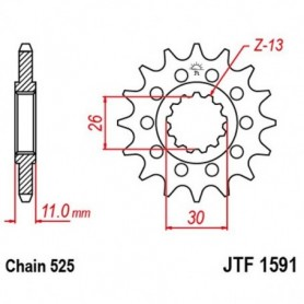 Piñón de Salida Yamaha MT-09 Tracer 16-17 2SC JT JTF1591.16RB Acolchado de Goma 16 dientes