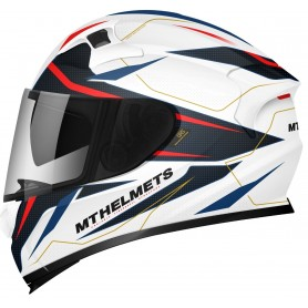 Casco MT Kre SV Intrepid B2 Blanco Perla Rojo Azul Brillo Integral